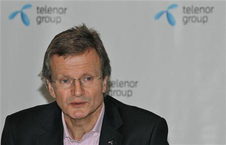 Norway's Telenor chief executive Jon Fredrik Baksaas speaks during a news conference in New Delhi November 29, 2012. REUTERS/B Mathur