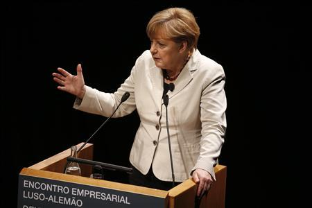 German Chancellor Angela Merkel gives a speech during a meeting with Portuguese-German businessmen in Lisbon November 12, 2012. REUTERS/Rafael Marchante