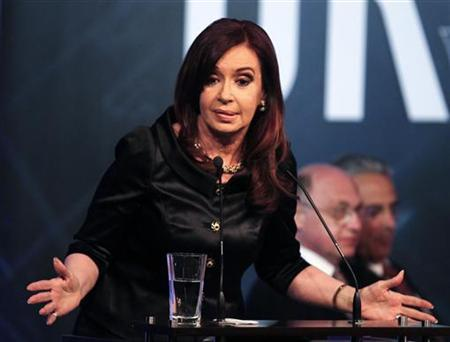 Argentine President Cristina Fernandez de Kirchner delivers a speech at the closing ceremony of the Union Industrial Argentina (UIA) annual meeting at Los Cardales village in Buenos Aires Province November 28, 2012. REUTERS/Enrique Marcarian
