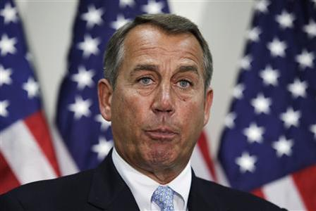 U.S. House Speaker John Boehner (R-OH) speaks during a news conference on Capitol Hill in Washington, November 28, 2012. Boehner voiced optimism that Republicans could broker a deal with the White House to avoid year-end austerity measures, saying on Wednesday that Republicans were willing to put revenues on the table if Democrats agreed to spending cuts. REUTERS/Yuri Gripas