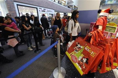 Shoppers line up for Black Friday sales at the Disney store in Glendale, California November 27, 2009. REUTERS/Phil McCarten