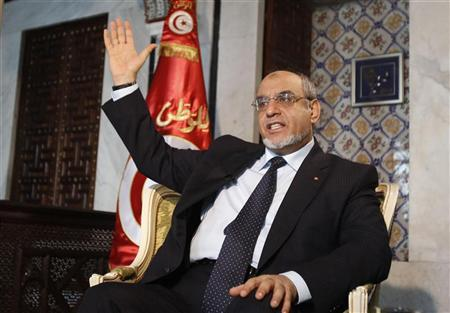 Tunisia's Prime Minister Hamadi Jebali gestures as he speaks during an interview at the Reuters Middle East Investment Summit in Tunis November 20, 2012. REUTERS/Zoubeir Souissi