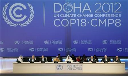 A view of the opening ceremony of the United Nations Framework Convention on Climate Change (UNFCCC) in Doha November 26, 2012. REUTERS/Fadi Al-Assaad