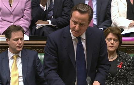 Britain's Prime Minister David Cameron speaks about Lord Justice Brian Leveson's report on media practices in Parliament in this still image taken from video in London November 29, 2012. REUTERS/UK Parliament/Pool