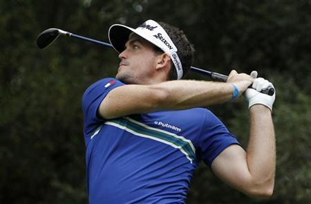 Keegan Bradley of the U.S. tees off on the 18th hole during the first round of the World Challenge golf tournament in Thousand Oaks, California, November 29, 2012. REUTERS/Danny Moloshok