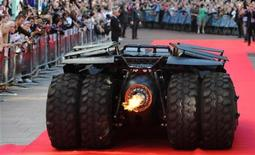 The 'Batmobile' arrives for the European Premiere of The Dark Knight in Leicester Square in central London July 21 2008. REUTERS/Toby Melville