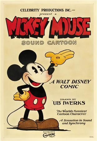 A 1928 poster, which is believed to be the earliest known surviving Mickey Mouse cartoon movie poster, is seen in this publicity photograph released to Reuters November 29, 2012. One of the earliest surviving posters of Mickey Mouse sold for more than $100,000 (62,320 pounds) on Thursday, Heritage Auctions said. The 1928 movie poster of the iconic cartoon mouse belonged to the family of a deceased collector in Northern California, the auction house said. REUTERS/Heritage Auctions/Handout