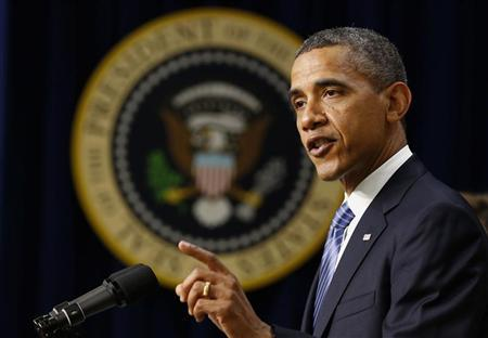 President Barack Obama talks about the need for Congress to ensure taxes don't go up for the majority of Americans next year, while in the Eisenhower Executive Office Building on the White House complex in Washington, August 3, 2012. REUTERS/Larry Downing