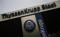 The logo of German industrial conglomerate ThyssenKrupp AG is seen outside Gate 1 to the ThyssenKrupp steelworks in the western German city of Duisburg May 31, 2012. Duisburg and other nearby cities once were the core of Germany's coal mining and steel producing Ruhr region, but are struggling heavily in debt due to falling steel prices and Germany's highest unemployment rate in the west of the country. REUTERS/Wolfgang Rattay (GERMANY - Tags: BUSINESS COMMODITIES LOGO)