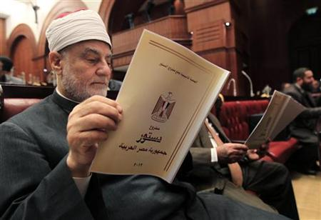 Mufti of Egypt, Nasr Farid Wasel, attends the final vote on a draft new Egyptian constitution at the Shura Council in Cairo November 29, 2012. An assembly drafting Egypt's new constitution voted on Thursday to keep the principles of Islamic law as the main source of legislation, unchanged from the previous constitution in force under former President Hosni Mubarak. REUTERS/Mohamed Abd El Ghany (EGYPT - Tags: POLITICS RELIGION)