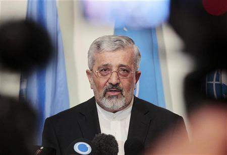 Iran's International Atomic Energy Agency (IAEA) ambassador Ali Asghar Soltanieh briefs the media after a meeting with IAEA's chief inspector Herman Nackaerts at the Iranian embassy in Vienna August 24, 2012. REUTERS/Herwig Prammer