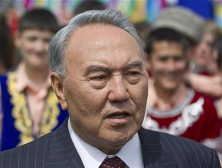 Kazakhstan's President Nursultan Nazarbayev speaks to the media during a celebration to mark Kazakhstan People's Unity Day in Almaty May 1, 2012. REUTERS/Shamil Zhumatov