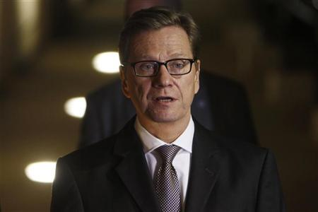 Germany's Foreign Minister Guido Westerwelle speaks as he delivers joint statements to the media with his Israeli counterpart Avigdor Lieberman (not seen) in Jerusalem November 19, 2012. REUTERS/Ronen Zvulun