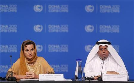 Qatar's Deputy Prime Minister and 18th Conference of the Parties (COP18) President Abdullah bin Hamad Al-Attiyah (R) and Christiana Figueres, executive secretary of the United Nations Framework Convention on Climate Change (UNFCCC), attend the opening session of the United Nations Climate Change (COP18) Conference in Doha November 26, 2012. REUTERS/Fadi Al-Assaad