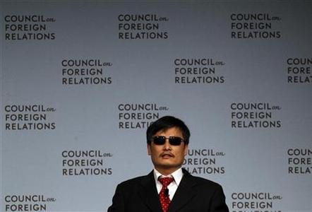 Blind activist Chen Guangcheng speaks at the Council on Foreign Relations in New York May 31, 2012. REUTERS/Eric Thayer