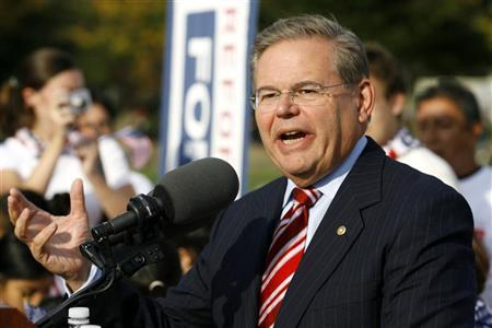 U.S. Senator Robert Menendez (D-NJ) speaks during an immigration reform rally in front of the U.S. Capitol on Capitol Hill in Washington October 13, 2009. REUTERS/Jose Luis Magana