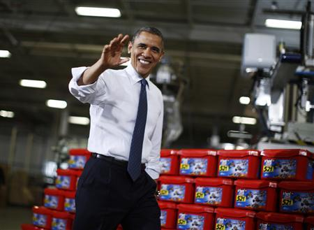 U.S. President Barack Obama walks at the Rodon Group, a manufacturer of toys in Hatfield, Pennsylvania, November 30, 2012. REUTERS/Jason Reed