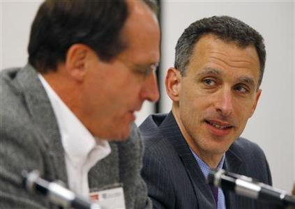 Federal Reserve Governor Jeremy Stein (R) listens as senior policy advisor at the Boston Federal Reserve Bank Jeffrey Fuhrer speaks at a macro-finance conference hosted by the Boston Federal Reserve Bank and Boston University in Boston, Massachusetts November 30, 2012. REUTERS/Brian Snyder