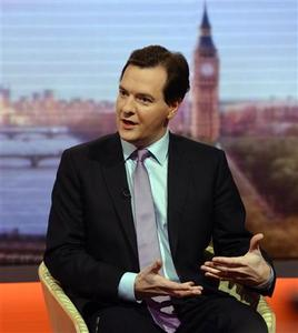 Britain's Chancellor of the Exchequer George Osborne speaks on the BBC's Andrew Marr Show in London December 2, 2012. British finance minister George Osborne said on Sunday that he would stick with his deficit-reduction programme when he presents a half-yearly fiscal statement on Wednesday, despite weak economic growth. REUTERS/Jeff Overs/BBC/Handout