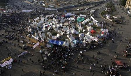 Anti-Mursi protesters are seen in their tents in Tahrir square in Cairo December 1, 2012. REUTERS/Asmaa Waguih
