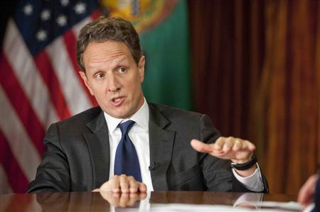 U.S. Treasury Secretary Tim Geithner gestures as he is interviewed by Bob Schieffer (not pictured) in Washington, on November 30, 2012 for the December 2, 2012 edition of ''Face the Nation'' in this CBS handout. REUTERS/Chris Usher/CBS News/Handout