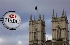 A branch of HSBC bank is seen near Westminster Abbey, in central London March 6, 2011. REUTERS/Stefan Wermuth