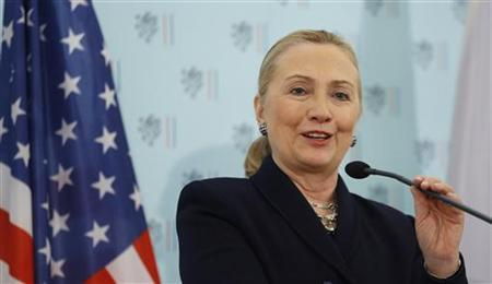 U.S. Secretary of State Hillary Clinton speaks after her meeting with Czech Foreign Minister Karel Schwarzenberg at the Foreign Ministry in Prague December 3, 2012. REUTERS/Kevin Lamarque