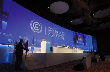 Christiana Figueres, Executive Secretary of the United Nations Framework Convention on Climate Change (UNFCCC), speaks at the opening session of the United Nations Climate Change Conference (COP18) in Doha November 26, 2012. REUTERS/Mohammed Dabbous