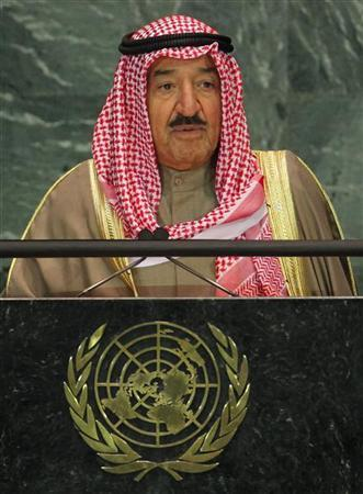 Emir of Kuwait Sheikh Sabah al-Ahmad al-Jaber al-Sabah speaks during a meeting of the General Assembly on the Culture of Peace at the United Nations in New York November 12, 2008. REUTERS/Shannon Stapleton