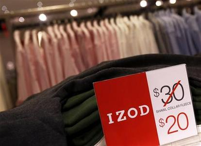 Price markdowns are seen in the Izod section at the J.C. Penney Herald Square department store location is seen in New York November 27, 2012. REUTERS/Shannon Stapleton