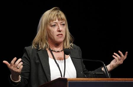 Professor Jody Williams, 1997 Nobel Peace Prize winner, speaks during the opening ceremonies of the 12th World Summit of Nobel Peace Laureates in Chicago, Illinois, April 23, 2012. REUTERS/Jeff Haynes