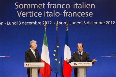 France's President Francois Hollande (R) and Italy's Prime Minister Mario Monti attend a joint news conference during a Franco-Italian summit in Lyon, December 3, 2012. REUTERS/Robert Pratta
