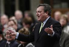 Canada's Finance Minister Jim Flaherty speaks during Question Period in the House of Commons on Parliament Hill in Ottawa November 27, 2012. REUTERS/Chris Wattie