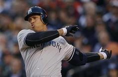 New York Yankees Alex Rodriguez swings through a pitch during the sixth inning of Game 4 of their MLB ALCS baseball playoff series against the Detroit Tigers in Detroit, Michigan, October 18, 2012. REUTERS/Jessica Rinaldi