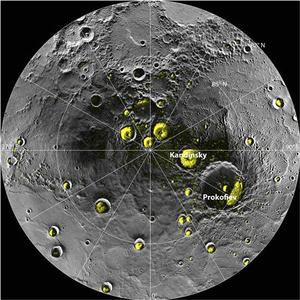 A radar image of Mercury's north polar region acquired by the Arecibo Observatory in Puerto Rico is shown superposed on a mosaic of Mercury MESSENGER images of the same area in this NASA handout photo released November 29, 2012. REUTERS/NASA/Handout