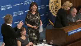 Rebecca Rothstein addresses the National Press Club in Washington, D.C. on November 12, 2012, in this handout photo. REUTERS/Noel St. John/Handout