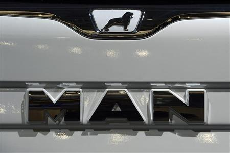 Logo of German truckmaker MAN, is pictured at the IAA truck show in Hanover, September 18, 2012. Picture taken September 18. REUTERS/Fabian Bimmer