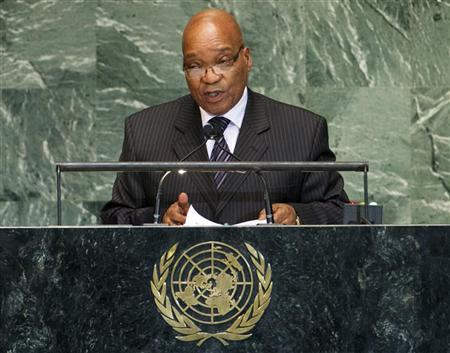 South Africa's President Jacob Zuma addresses the 67th session of the United Nations General Assembly at UN headquarters in New York, September 25, 2012. REUTERS/Ray Stubblebine