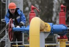 An employee twists a valve at a gas-distributing station after it was opened near the village of Atolino, some 20km (12 miles) south of Minsk, November 22, 2012. REUTERS/Vasily Fedosenko