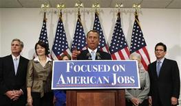 "U.S. House Speaker John Boehner (R-OH) speaks during a GOP news conference on the ""fiscal cliff"", on Capitol Hill in Washington, November 28, 2012. REUTERS/Yuri Gripas"