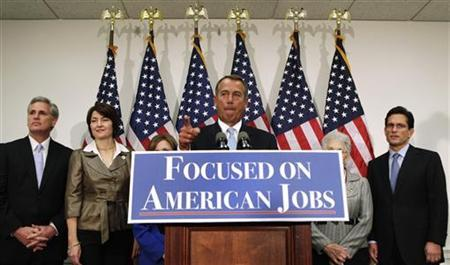U.S. House Speaker John Boehner (R-OH) speaks during a GOP news conference on the ''fiscal cliff'', on Capitol Hill in Washington, November 28, 2012. REUTERS/Yuri Gripas