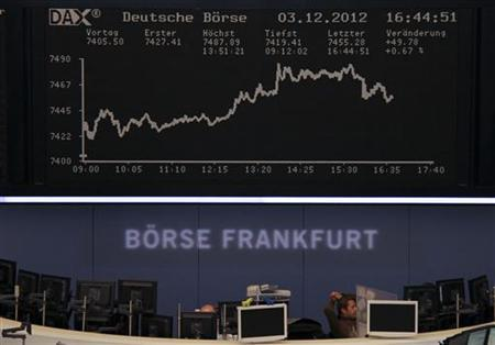 Traders are pictured at their desk under the DAX board at the Frankfurt stock exchange December 3, 2012. REUTERS/Remote/Marte Kiessling