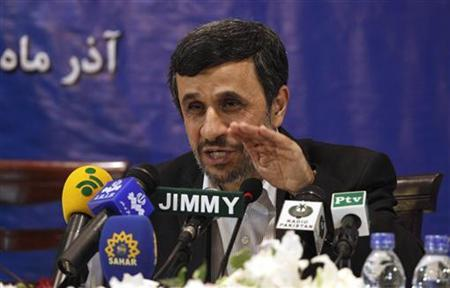 Iran's President Mahmoud Ahmadinejad speaks during a media conference at Iran's embassy after he attended the Developing-8 summit in Islamabad November 22, 2012. REUTERS/Mian Khursheed(PAKISTAN - Tags: POLITICS)