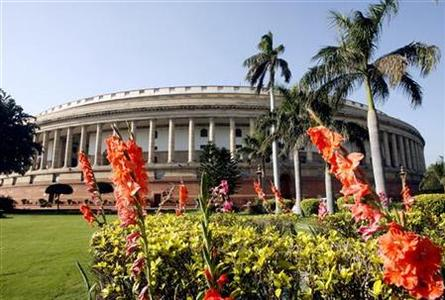 A view of the parliament building on the opening day of the budget session in New Delhi February 23, 2007. REUTERS/B Mathur/Files