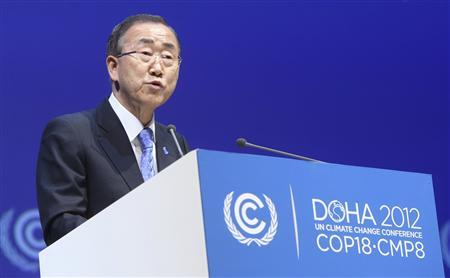 U.N. Secretary General Ban Ki-Moon talks during the opening ceremony of the plenary session of the high-level segment of the 18th session of the Conference of Parties (COP18) of the United Nations Framework Convention on Climate Change (UNFCCC) in Doha December 4, 2012. REUTERS/Fadi Al-Assaad