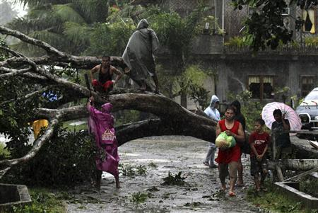 Residents saw an uprooted tree to clear the road after Typhoon Bopha hit Tagum City, southern Philippines December 4, 2012. Typhoon Bopha made landfall in southern Philippines early Tuesday, bringing heavy rains and strong winds, forcing 41,600 people living in coastal areas to flee their homes. REUTERS/Stringer