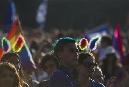 Participants attend the tenth annual gay pride parade in Jerusalem August 2, 2012. REUTERS/Ronen Zvulun/Files