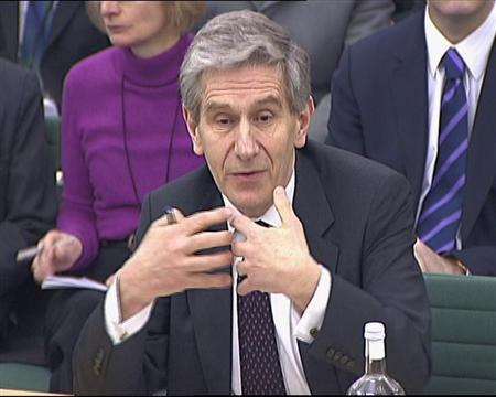 A video grab image shows Dennis Stevenson, the former chairman of HBOS speaking to the Treasury Select Committee in London on February 10, 2009. REUTERS/Parbul TV via Reuters TV