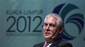 Chairman and Chief Executive Officer of Exxon Mobil Corporation Rex Tillerson speaks during the World Gas Conference 2012 in Kuala Lumpur June 5, 2012. REUTERS/Bazuki Muhammad