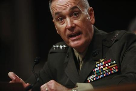 Marine Corps General Joseph Dunford testifies at a Senate Armed Services Committee hearing in Washington, November 15, 2012. REUTERS/Jason Reed